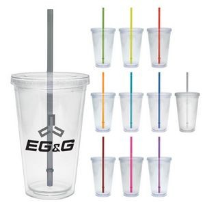20 Oz. Carnival Cup w/Color Straw & Clear Lid
