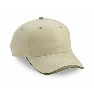6 Panel Heavy Brushed Cotton Twill Wave Sandwich Cap