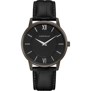 Caravelle Men's Leather Strap from the Dress Collection- Black Dial and Strap