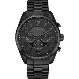 Caravelle Men's Black Stainless Steel Chronograph Watch