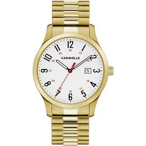Caravelle Men's Gold-Tone Stainless Steel Expansion Watch