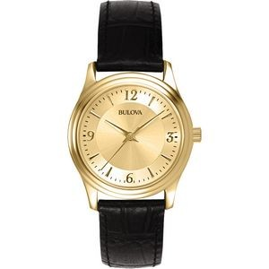 Bulova Round Gilt Dial Women's Watch w/ Black Leather Strap