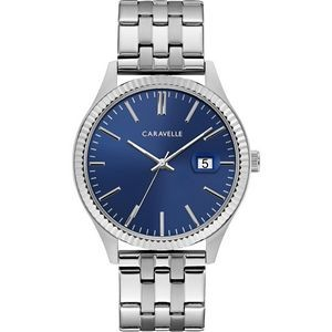 Caravelle Men's Silver-Tone Watch with Blue Dial