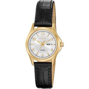 Ladies' Quartz Watch, Black Leather Strap with Silver Dial