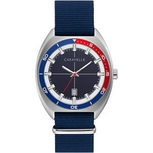 Men's Retro Sport Watch with NATO Strap, Navy and Red Bezel