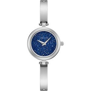 Ladies Stainless Steel Bangle Bracelet Watch with Blue Rock Crystal Dial