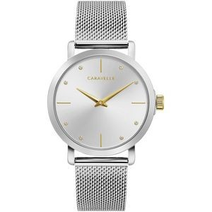 Caravelle Ladies Bracelet from the min/MAX Collection- Silver Tone and Gold Accents