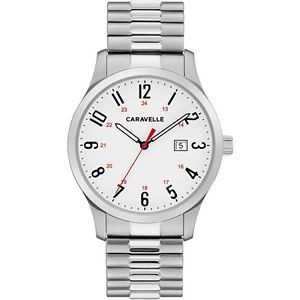 Caravelle Men's Silver-Tone Stainless Steel Expansion Watch