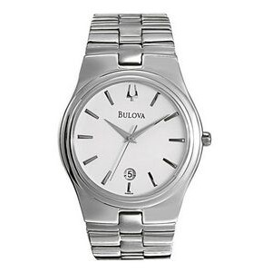 Bulova Men's White Round Dial Watch w/ Stainless Steel Case