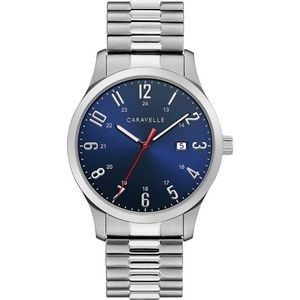 Caravelle Men's Silver -Tone Bracelet Watch with Blue Dial