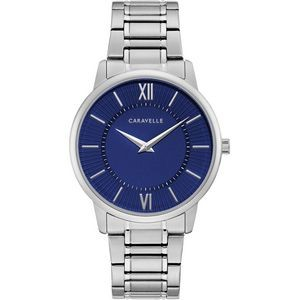 Caravelle Men's Silver Bracelet from the Dress Collection- Blue Dial