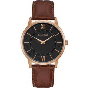 Caravelle Men's Leather Strap from the Dress Collection- Black Dial, Brown Strap and Rose Gold