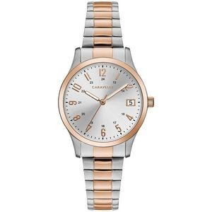 Caravelle Ladies Bracelet from the Traditional Collection- Two Tone Rose Gold and Silver