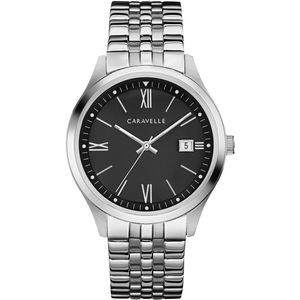 Caravelle Men's Stainless Steel Bracelet Watch with Black Dial