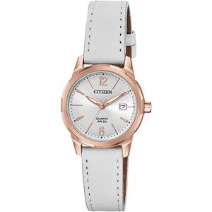 Citizen Women's Quartz Watch, White Leather Strap with Silver Dial