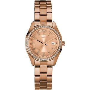Ladies Rose Gold Tone Stainless Steel Bracelet Watch with Crystal Bezel and Date Marker