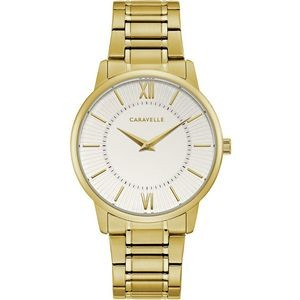 Caravelle Men's Gold Bracelet from the Dress Collection- White Dial