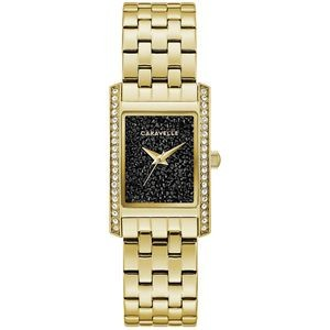 Caravelle Ladies Bracelet from the Modern Collection- Gold Bracelet with Black Rock Crystal Dial